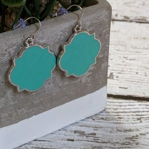 Jewelry - Enamel turquoise blue and silver earrings